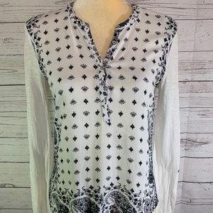 Lucky Brand Long Sleeve Black Cream Paisley Shirt